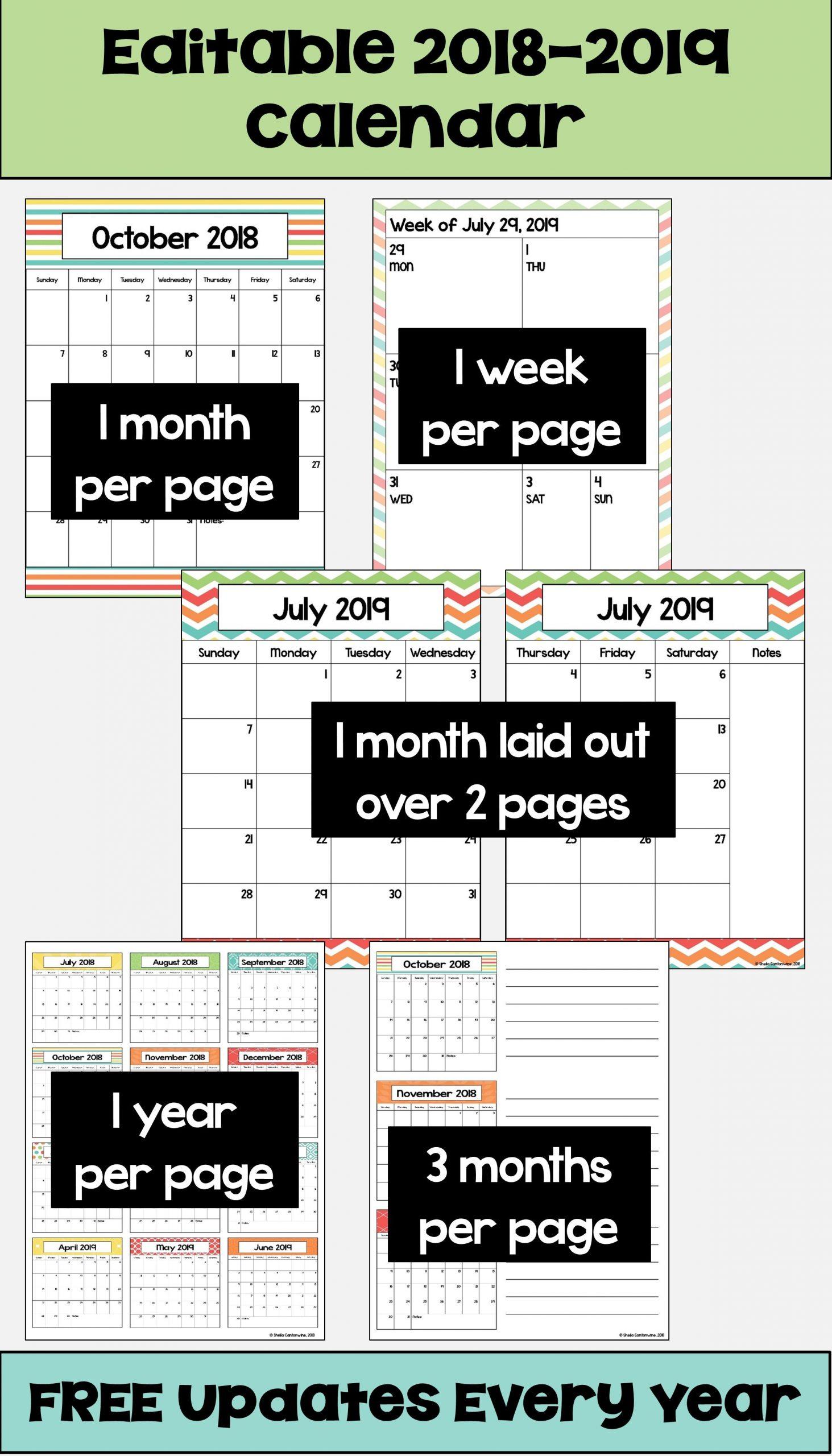 2019 2020 Calendar Printable And Editable With Free