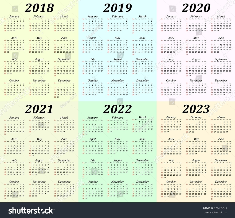 2019 2023 Calendar Printable Calendar Inspiration Design