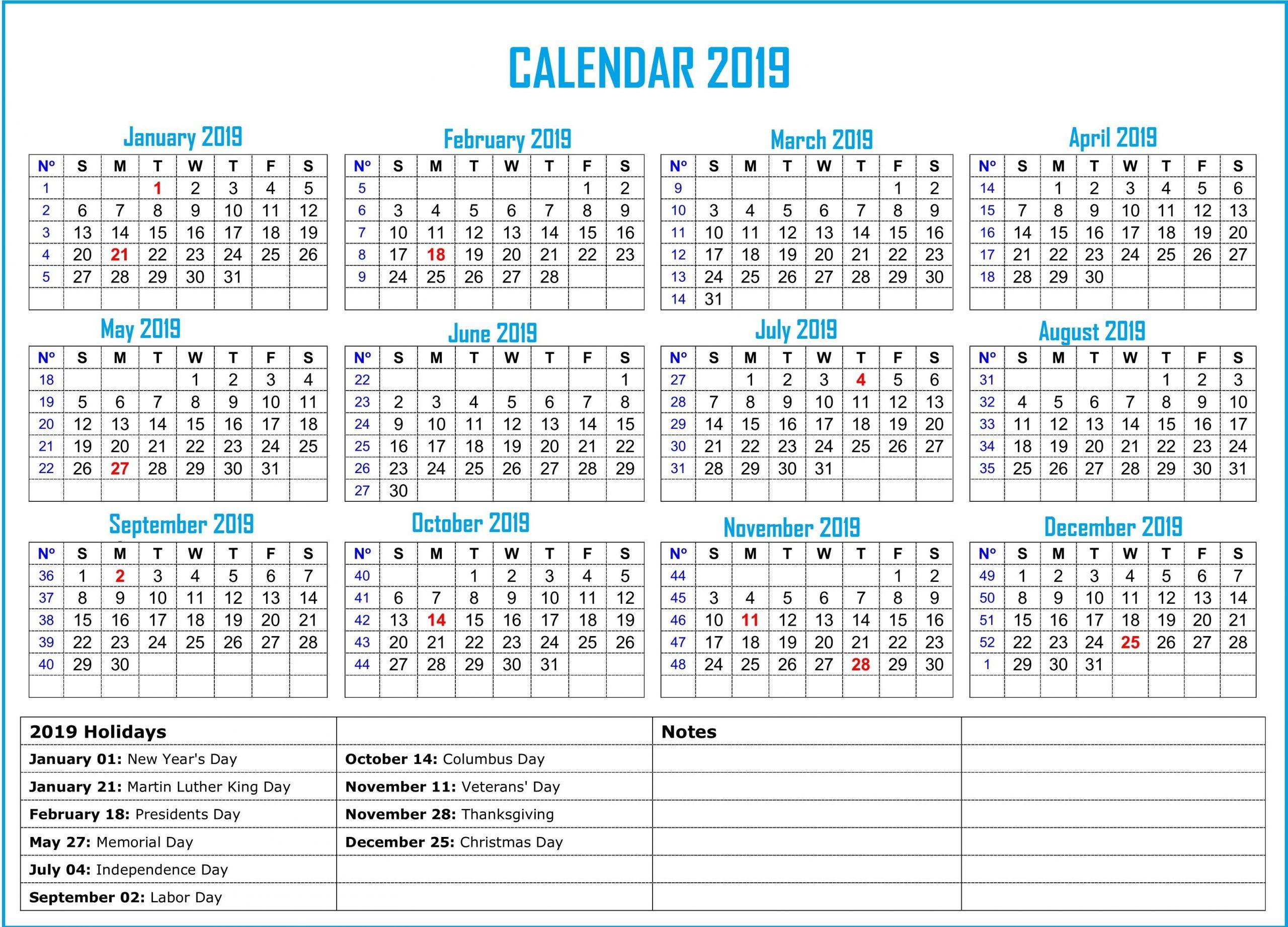 2019 Bank Holiday Calendar Calendar2019
