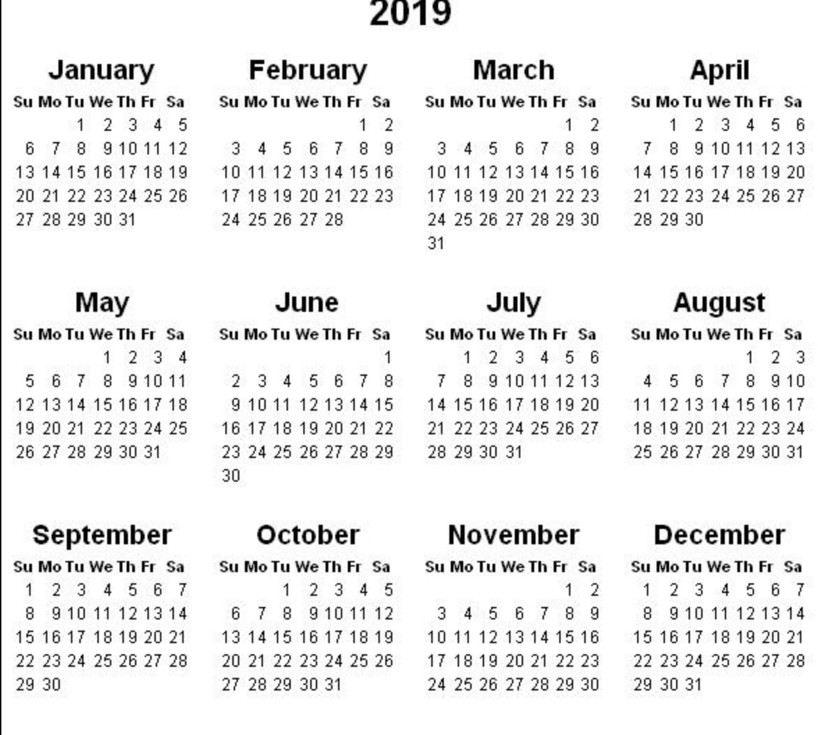 2019 Calendar Amazonaws 1