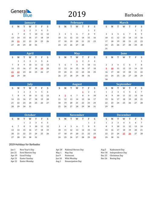 2019 Calendar Barbados With Holidays