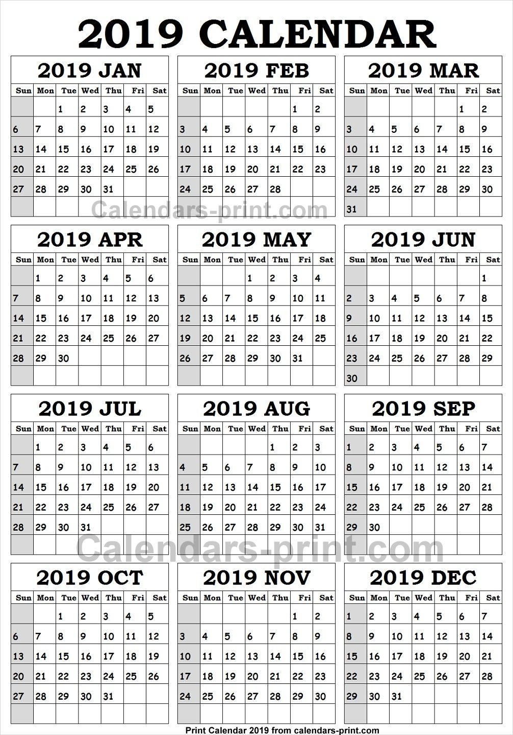 2019 Calendar Jpeg Yearly Calendar Template Calendar