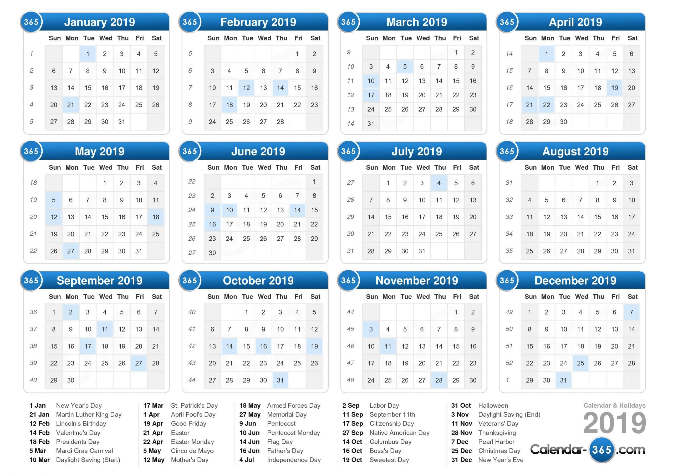 2019 Calendar