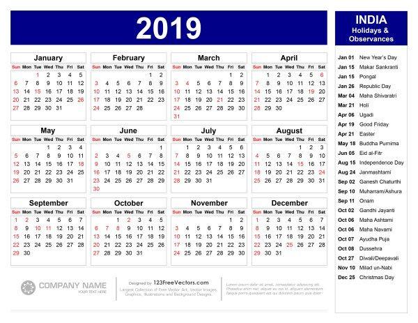 2019 Calendar With Indian Holidays Pdf Holiday Calendar