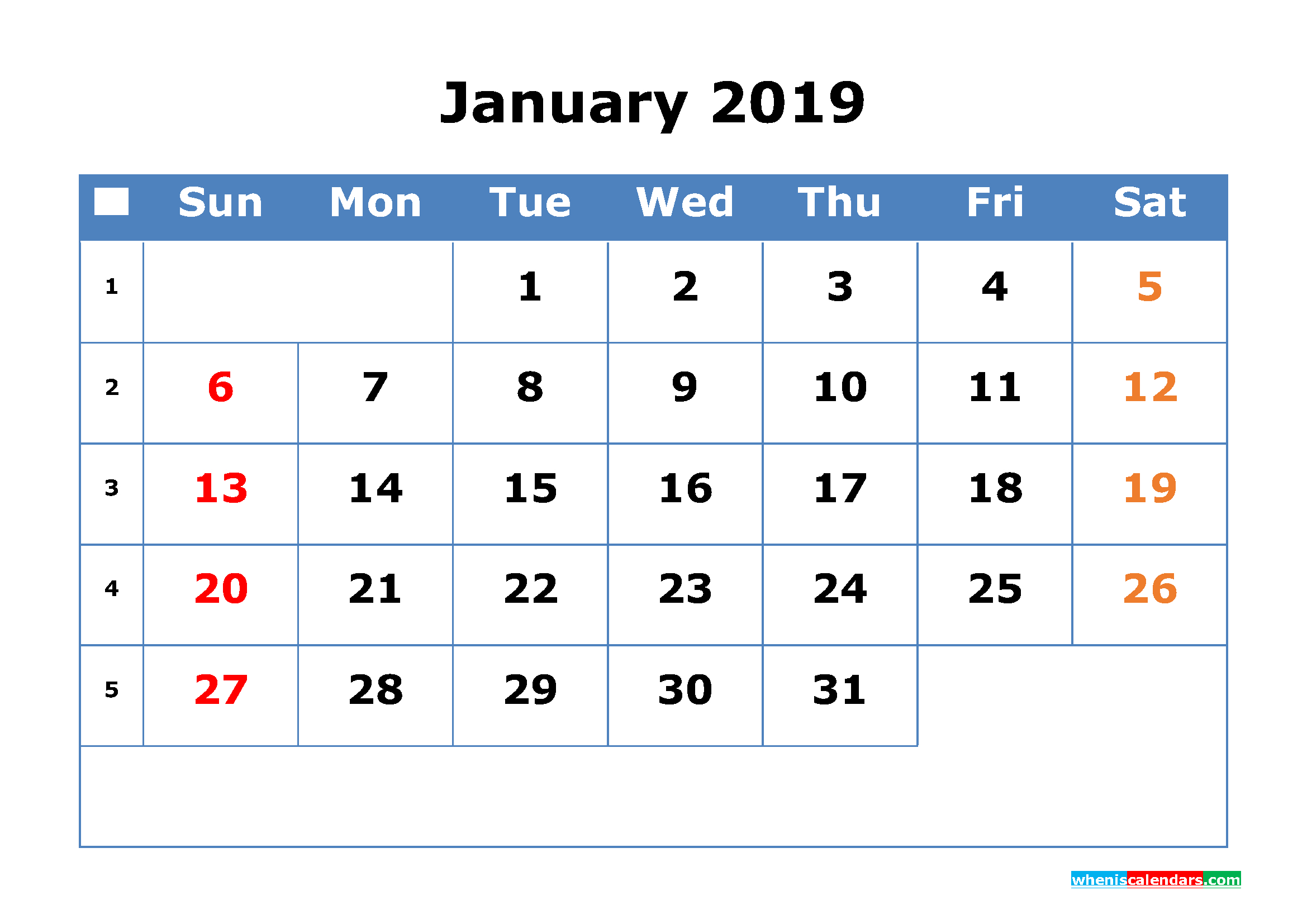 2019 Calendar With Week Numbers Printable As Pdf Image