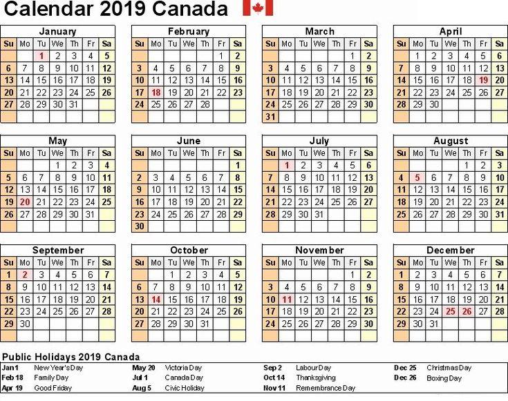 2019 Canada Printable Calendar Word Excel Pdf Holidays