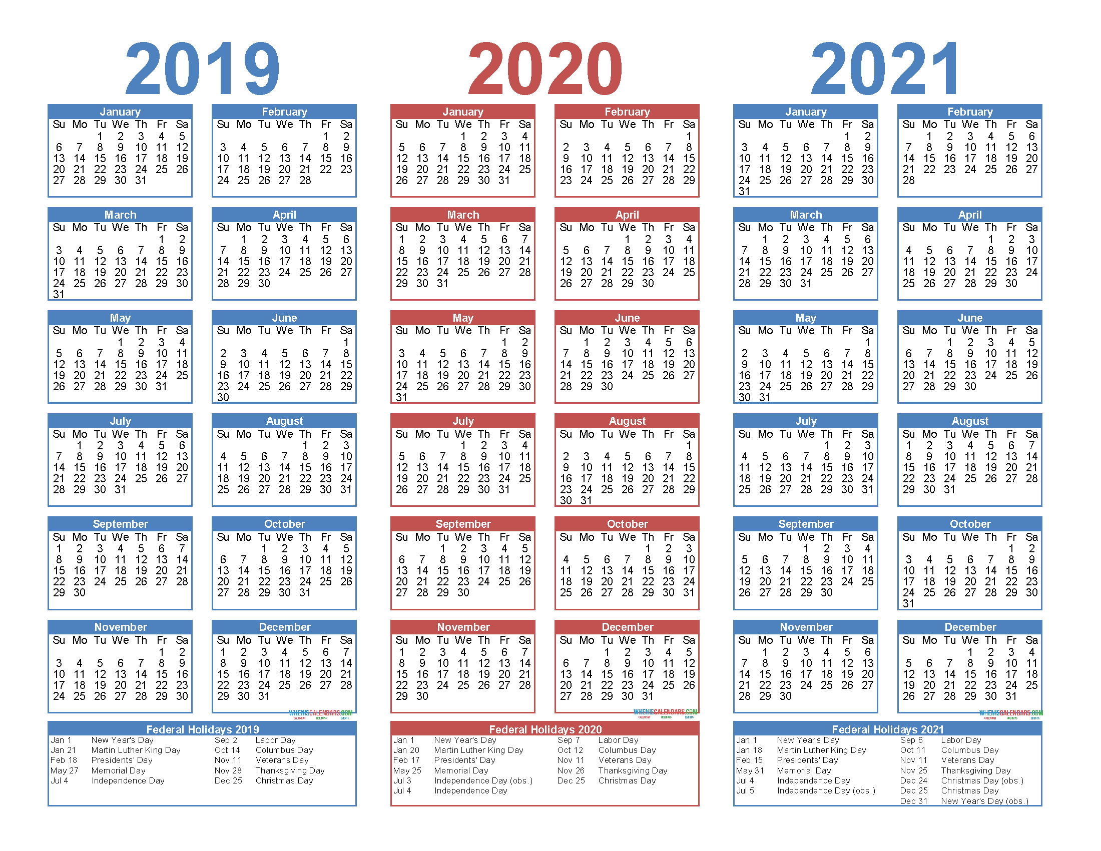 2019 To 2021 3 Year Calendar Printable Free Pdf Word