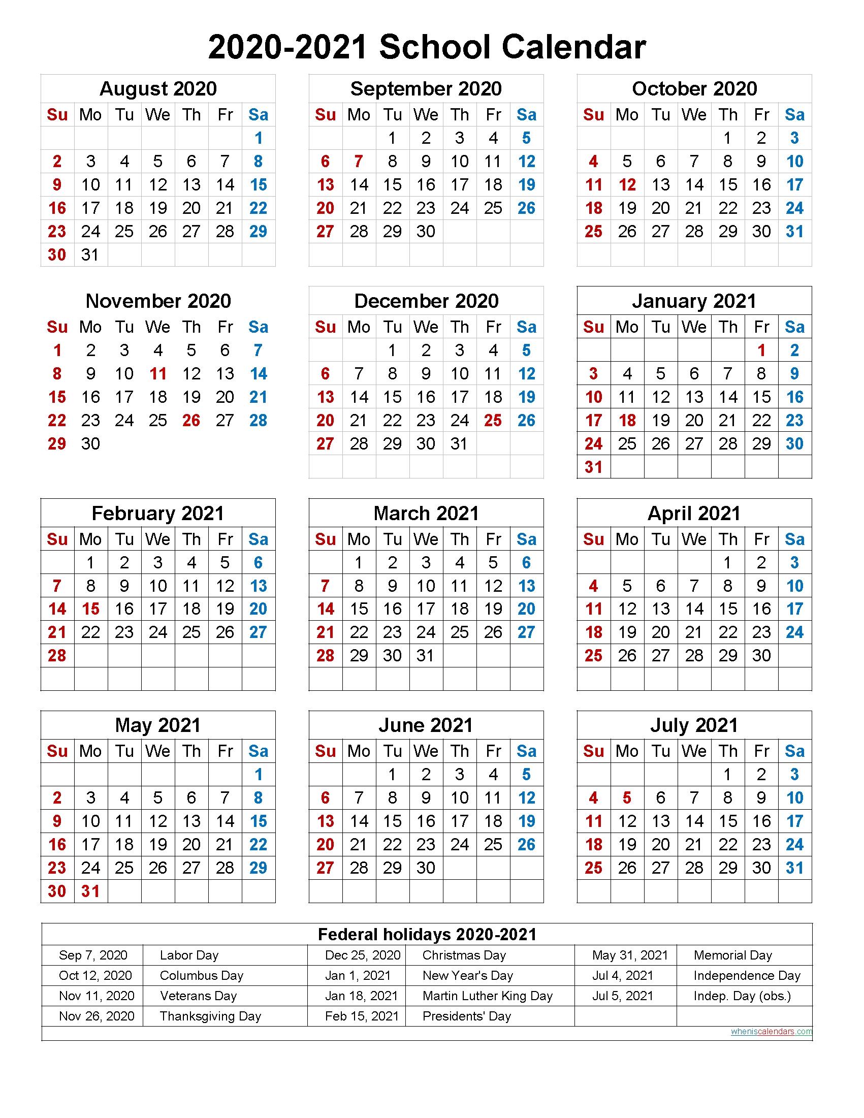 2020 2020 Academic Calendar Template Calendar Template 2020