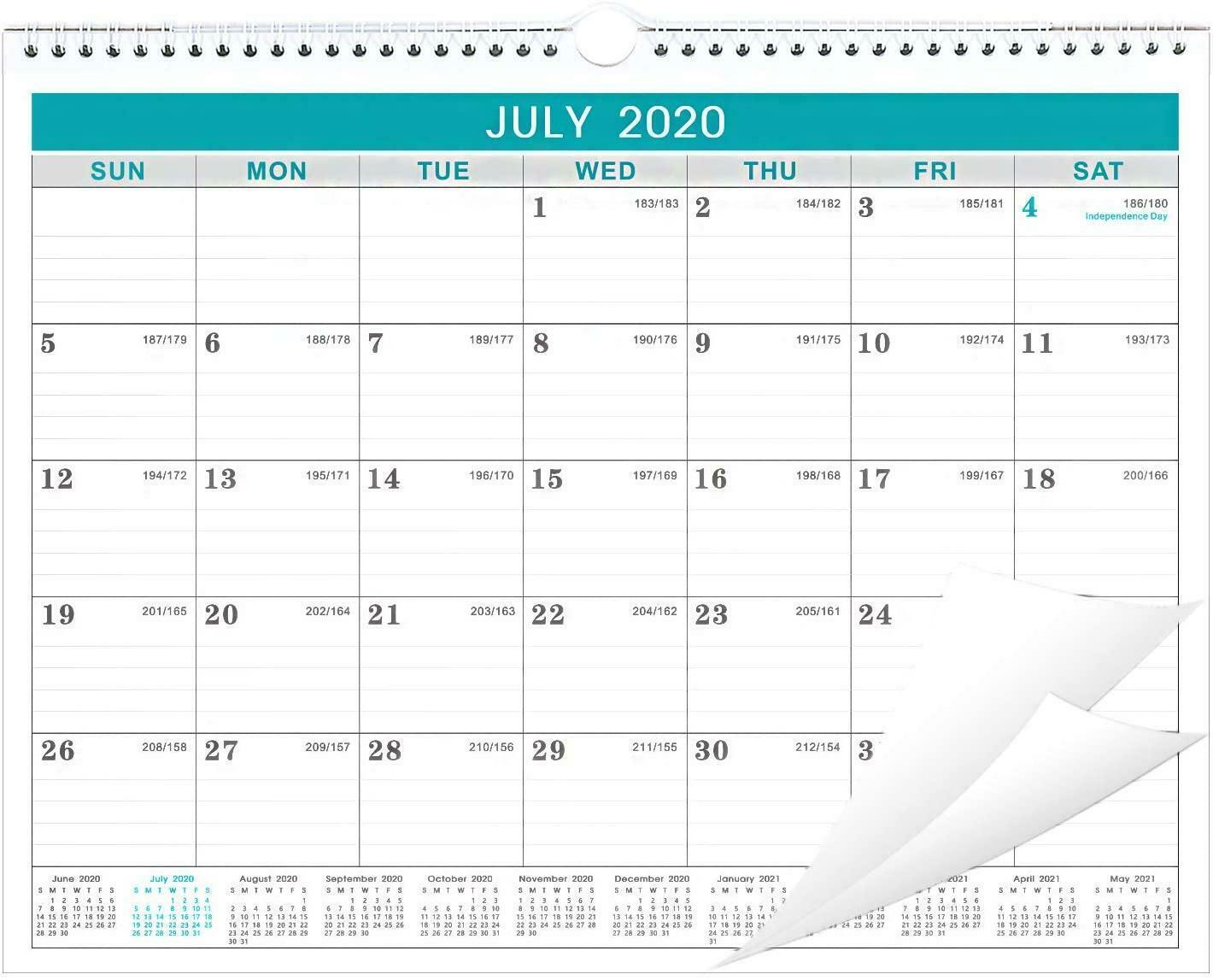 2020 2021 Calendar 18 Months Wall Calendar With Julian