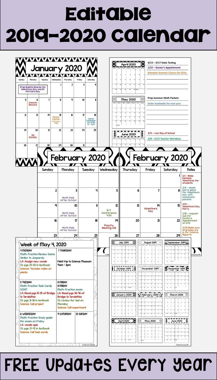 2020 2021 Calendar Printable And Editable With Free 14