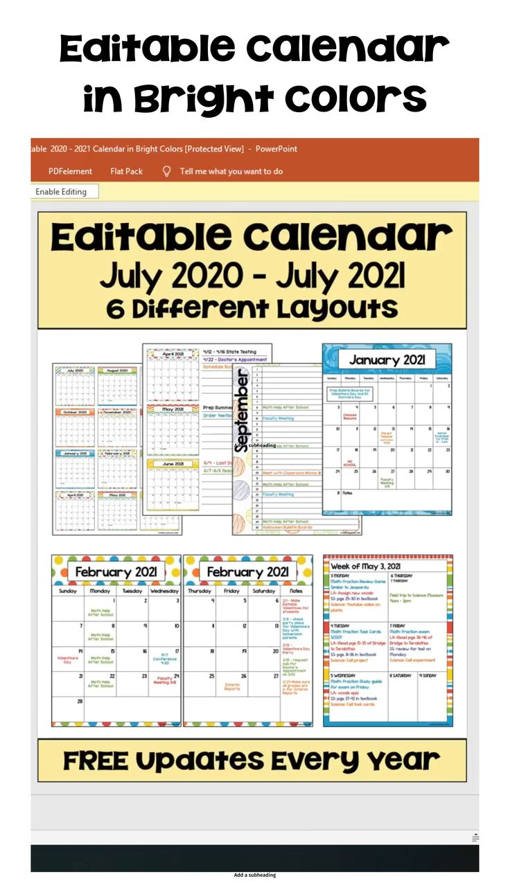 2020 2021 Calendar Printable And Editable With Free 16