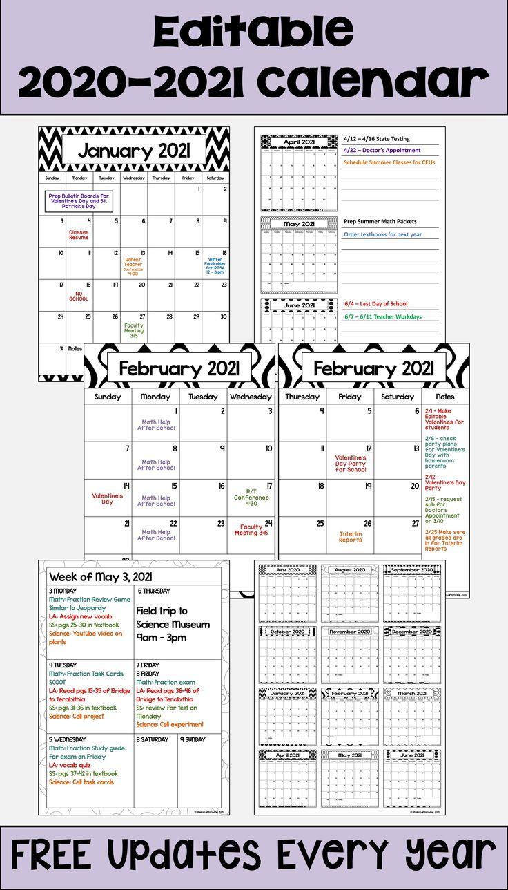 2020 2021 Calendar Printable And Editable With Free 5