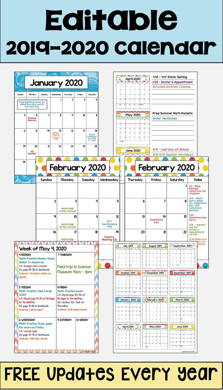 2020 2021 Calendar Printable And Editable With Free 7
