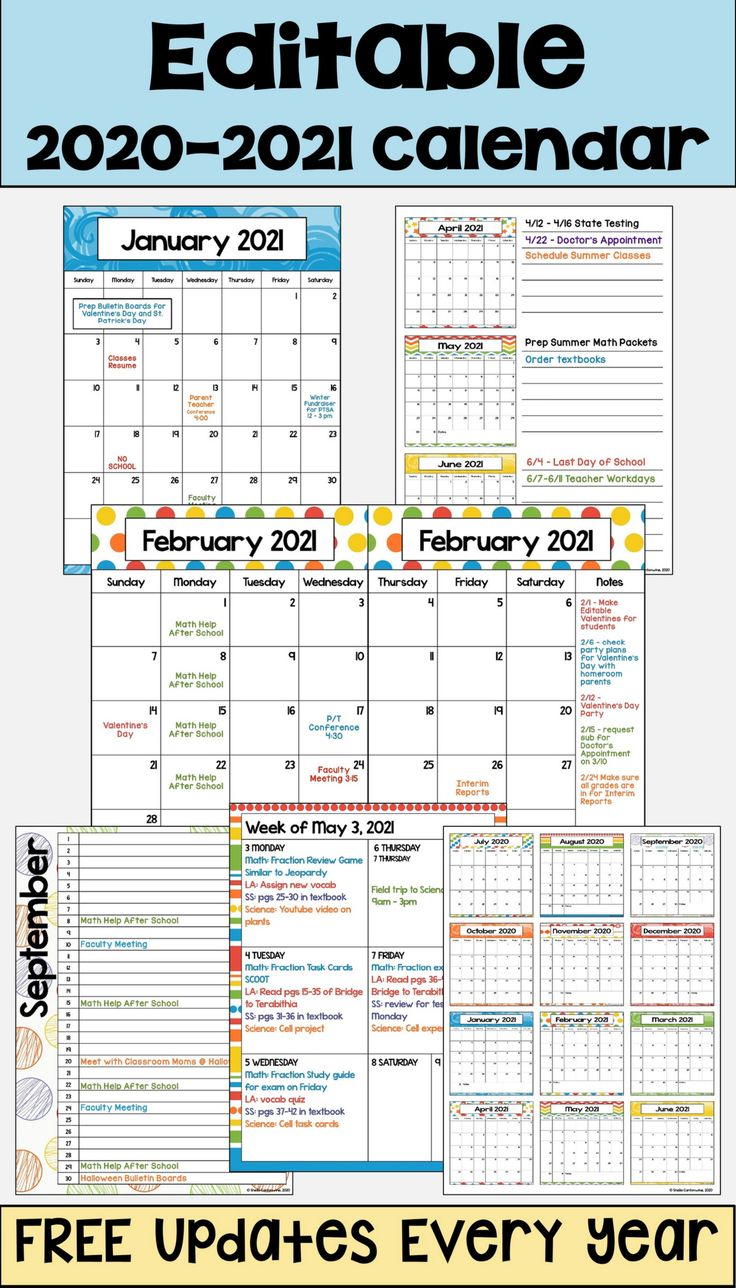 2020 2021 Calendar Printable And Editable With Free 9