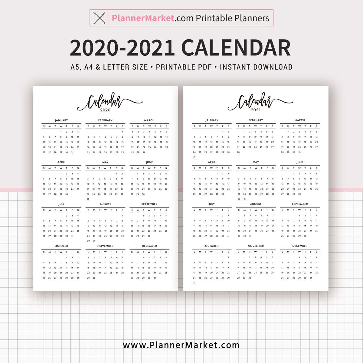 2020 2021 Calendar Printable Year At A Glance Filofax A5