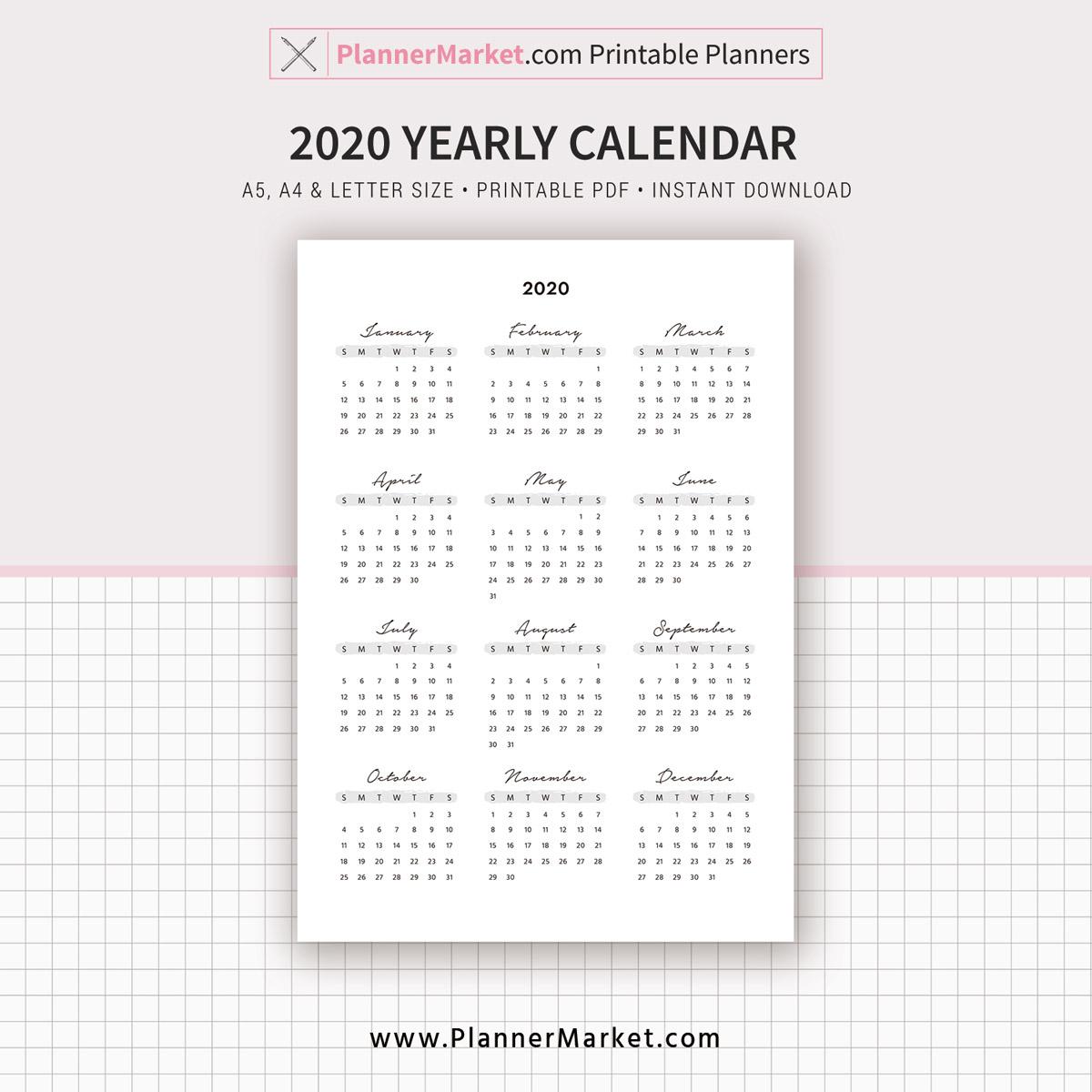 2020 2021 Calendar Yearly Calendar Year At A Glance