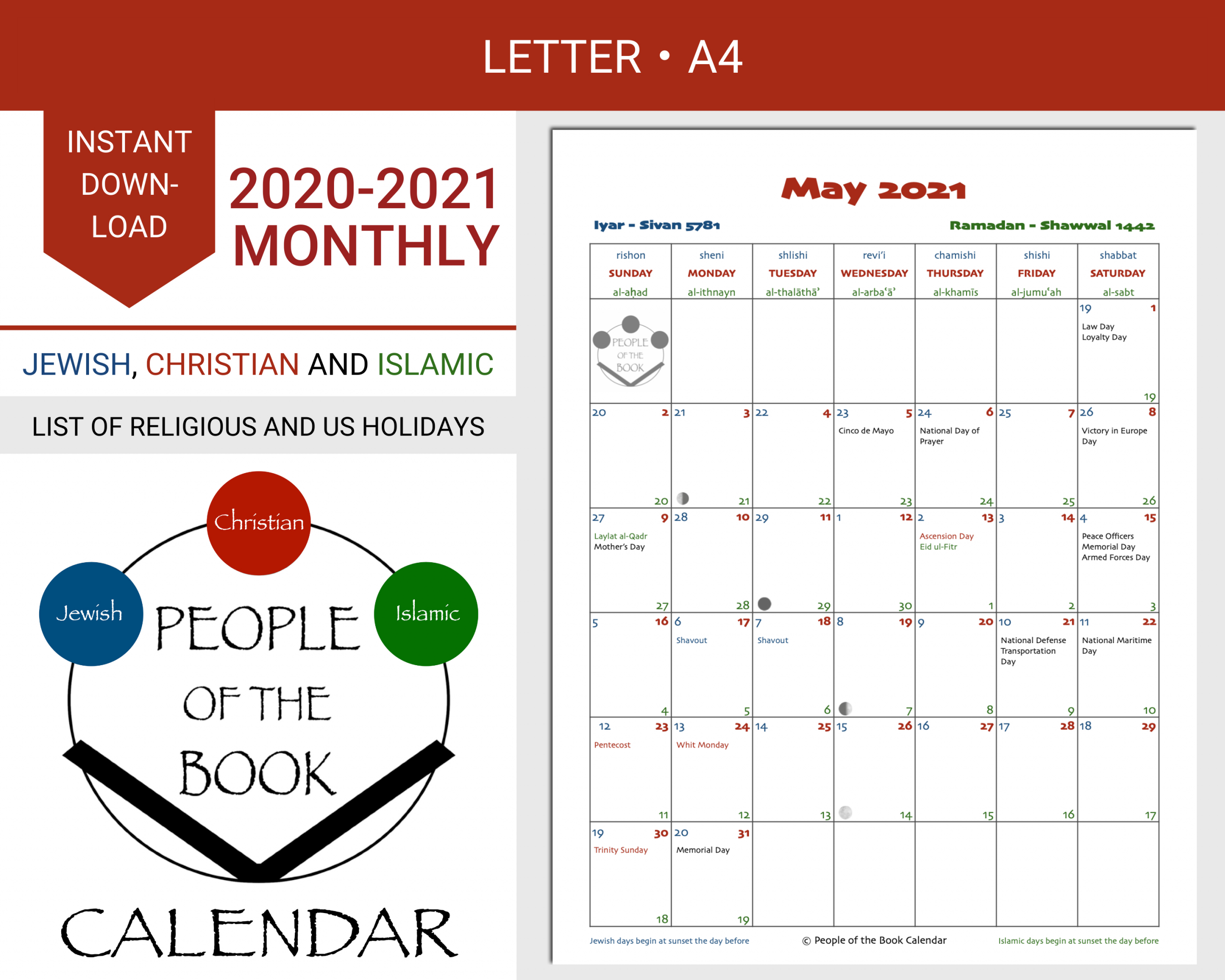 2020 2021 Monthly Calendar People Of The Book Calendar