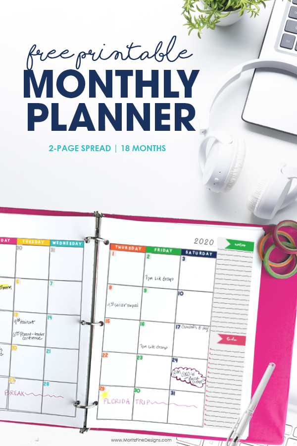 2020 2021 Monthly Calendar Planner Free Printable
