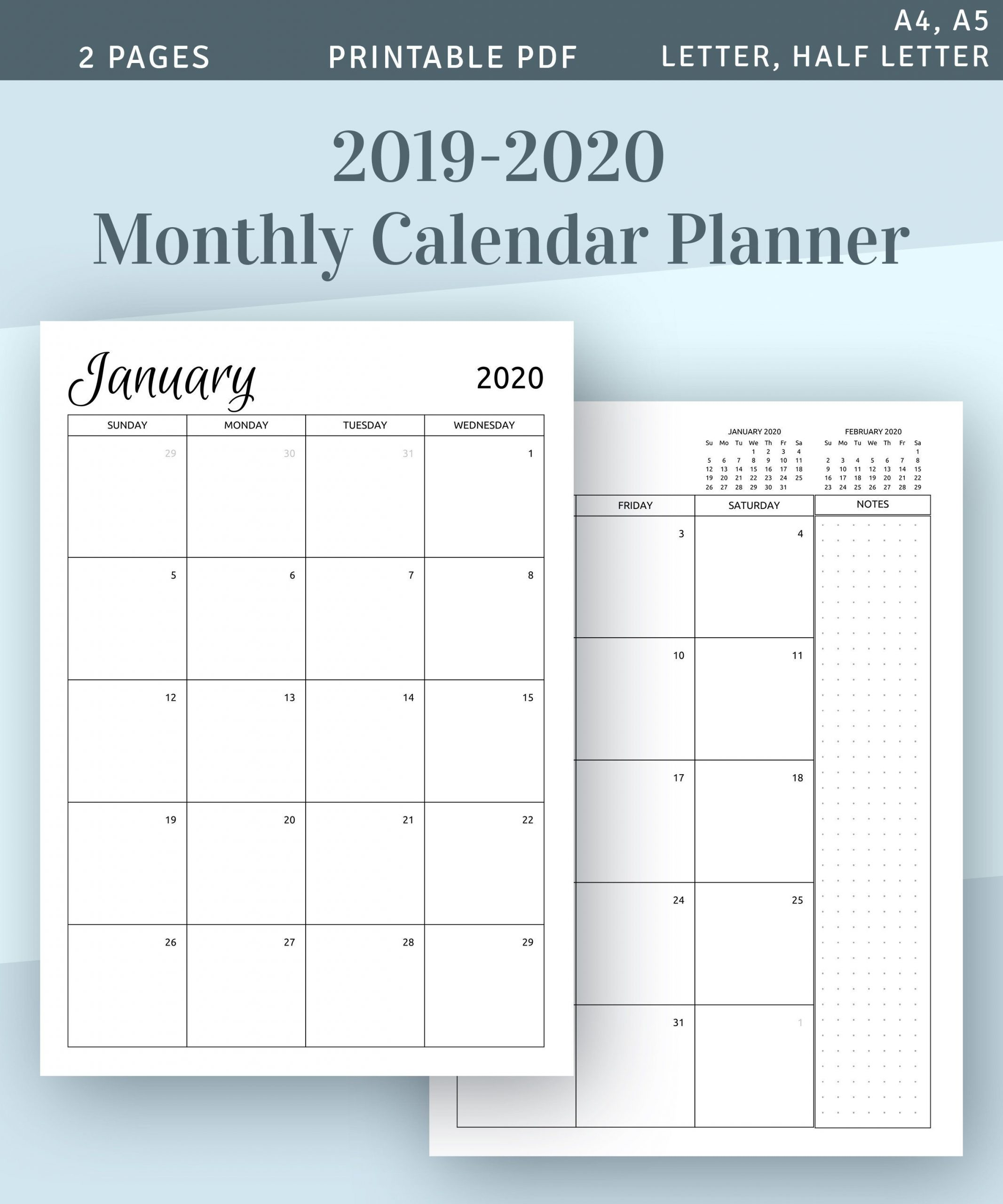 2020 2021 Monthly Calendar Printable Template Download