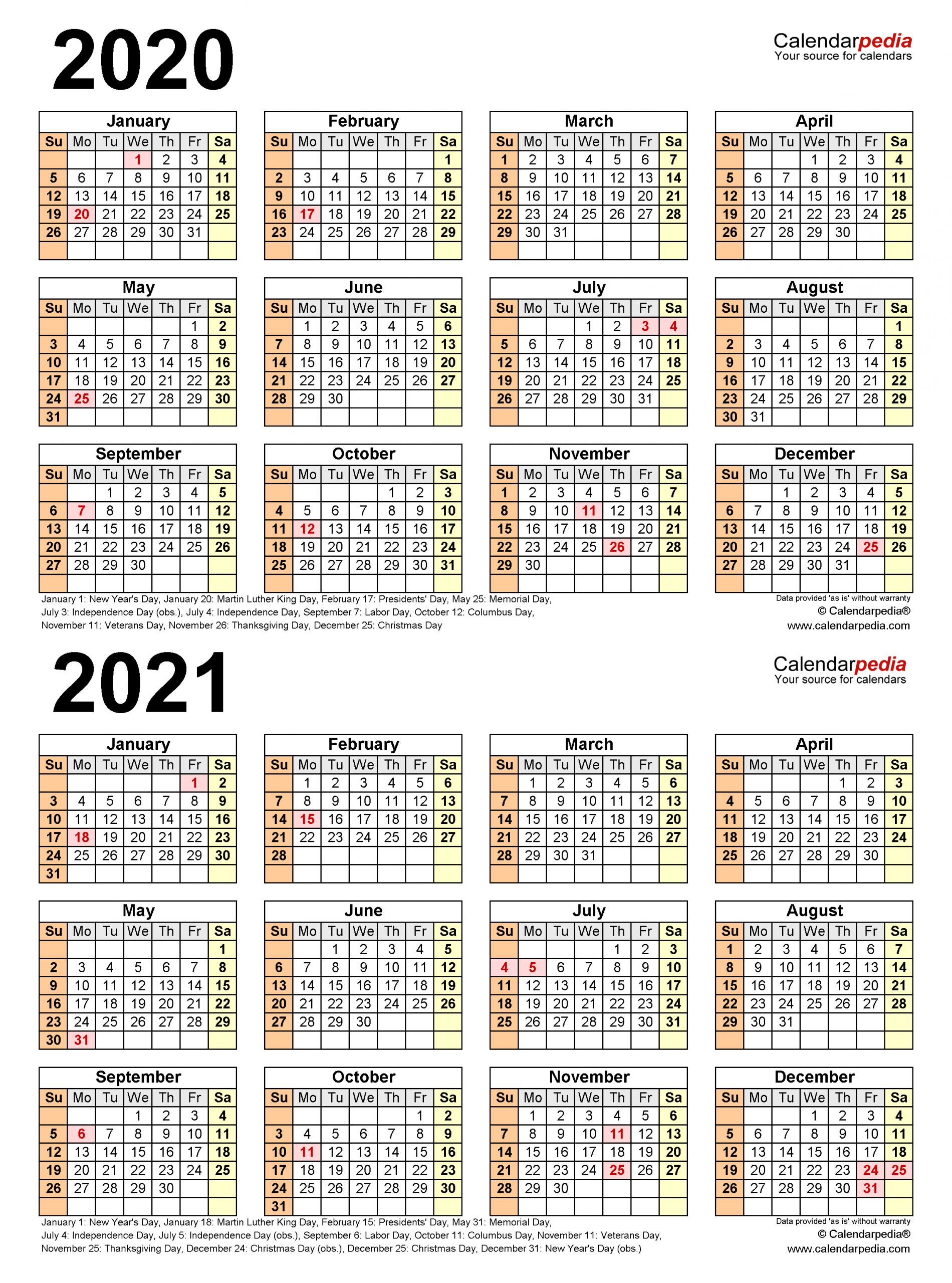 2020 2021 Two Year Calendar Free Printable Word Templates 1