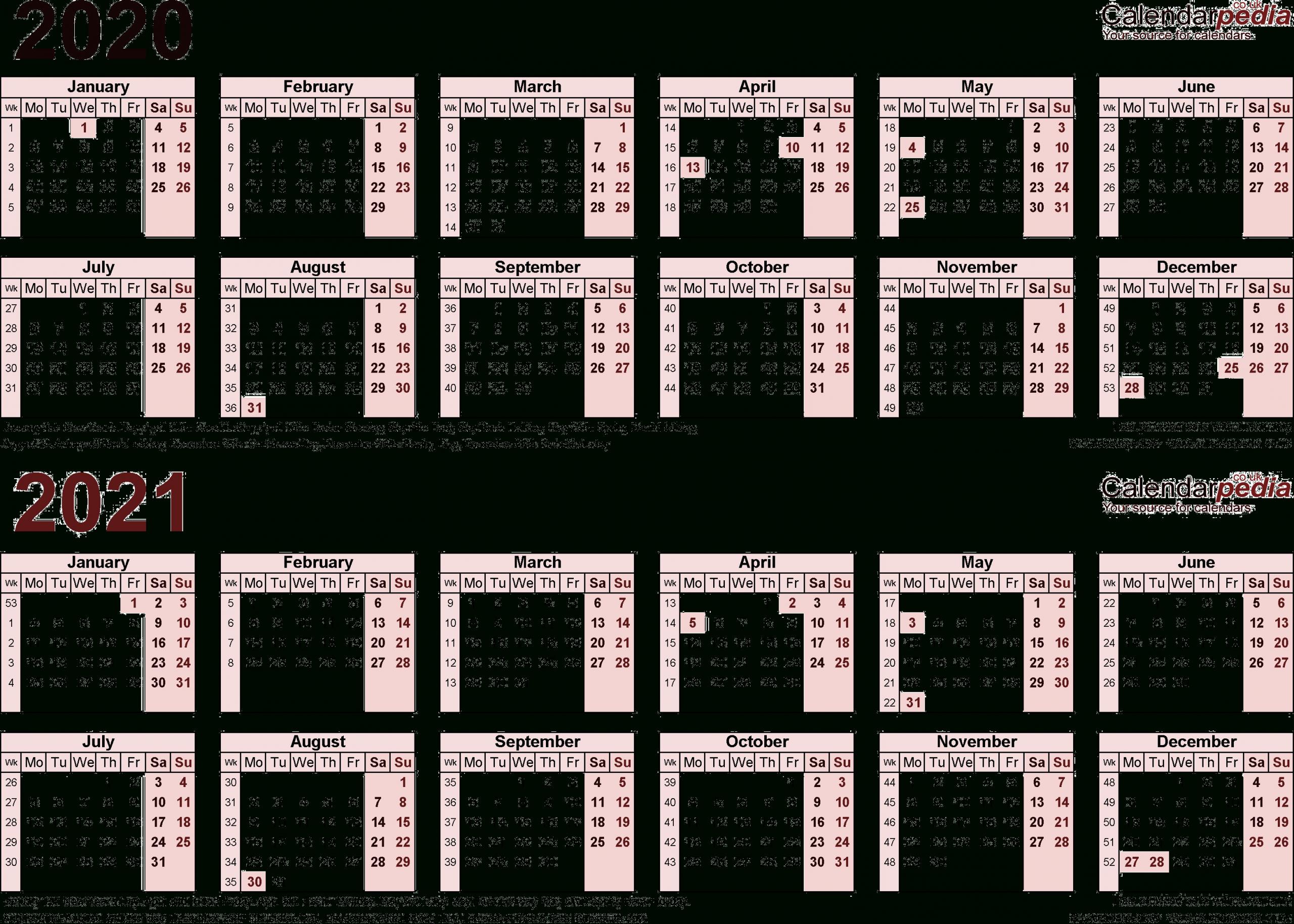 2020 And 2021 Calendar Printable Uk Free Printable Calendar