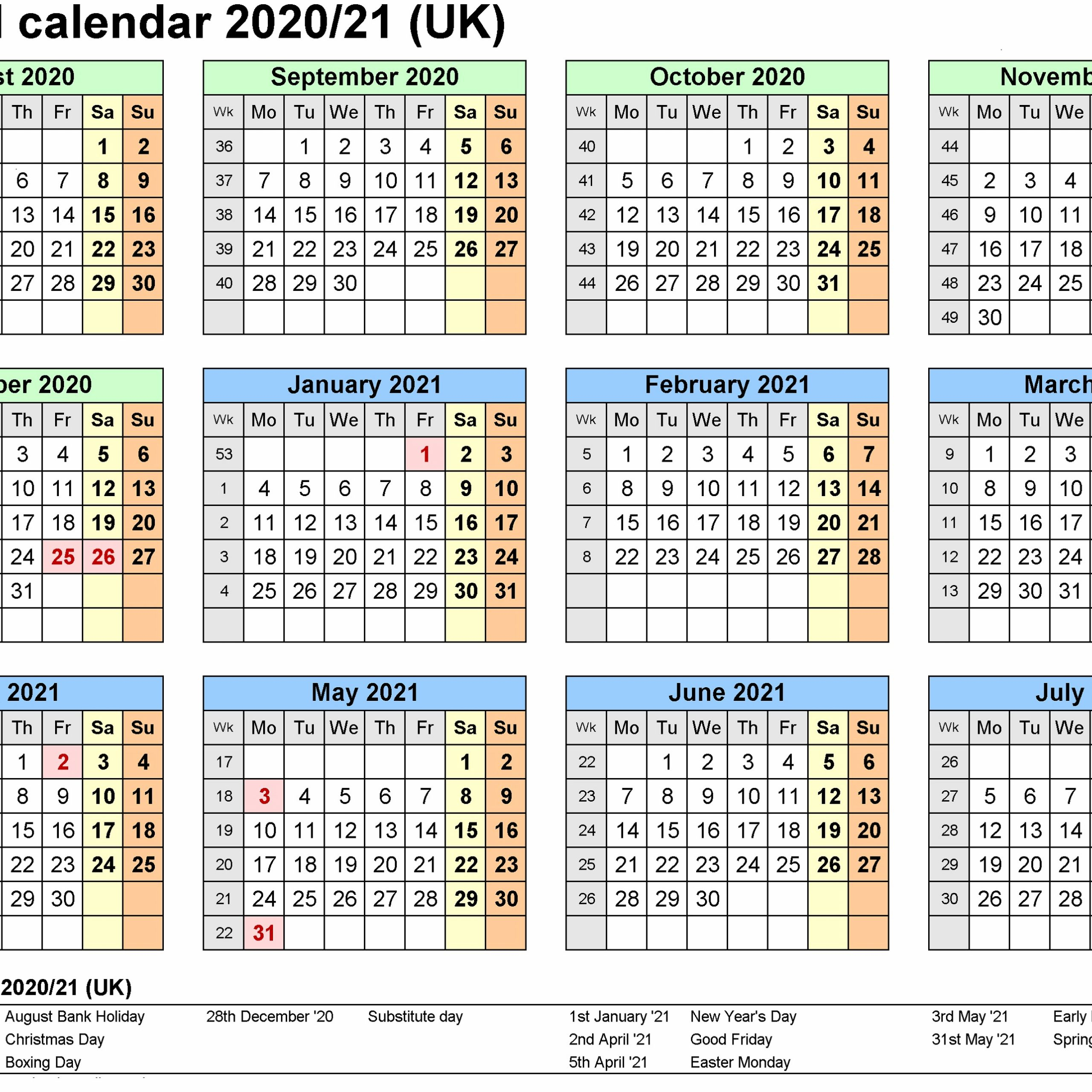 2020 And 2021 Calendar Printable Uk Free Printable Calendar