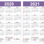 2020 And 2021 Calendar Printable With Holidays Word Pdf