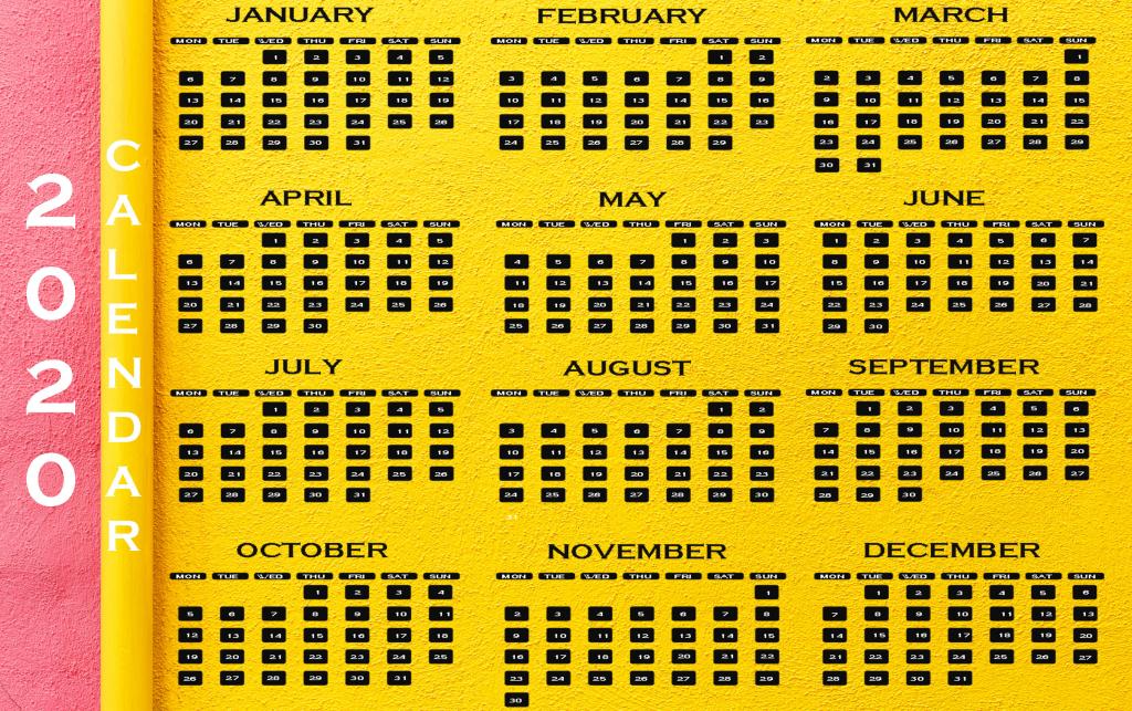 2020 Calendar 10000 Year Calendar Template 2020