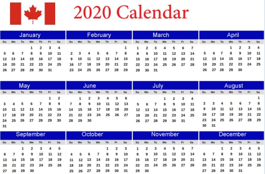 2020 Canada 12 Months Calendar Holiday Words Monthly
