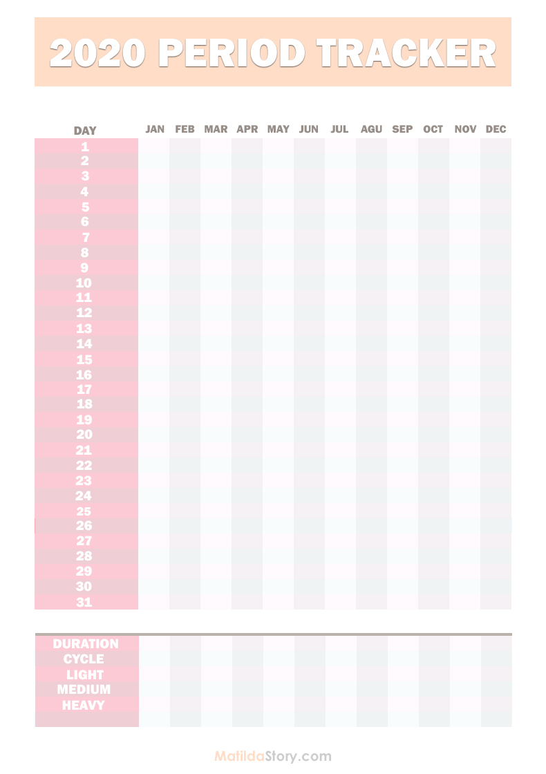 2020 Period Tracker Calendar Free Printable Pdf Jpg