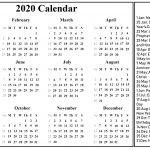 2020 Printable Calendar Template With Holidays With