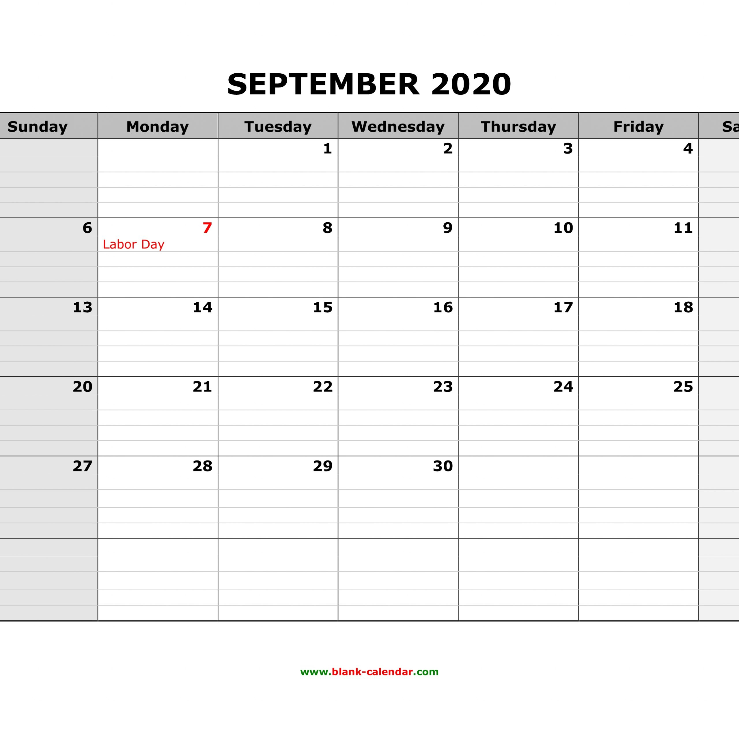 2020 Printable Calendar With Grid Lines Printable
