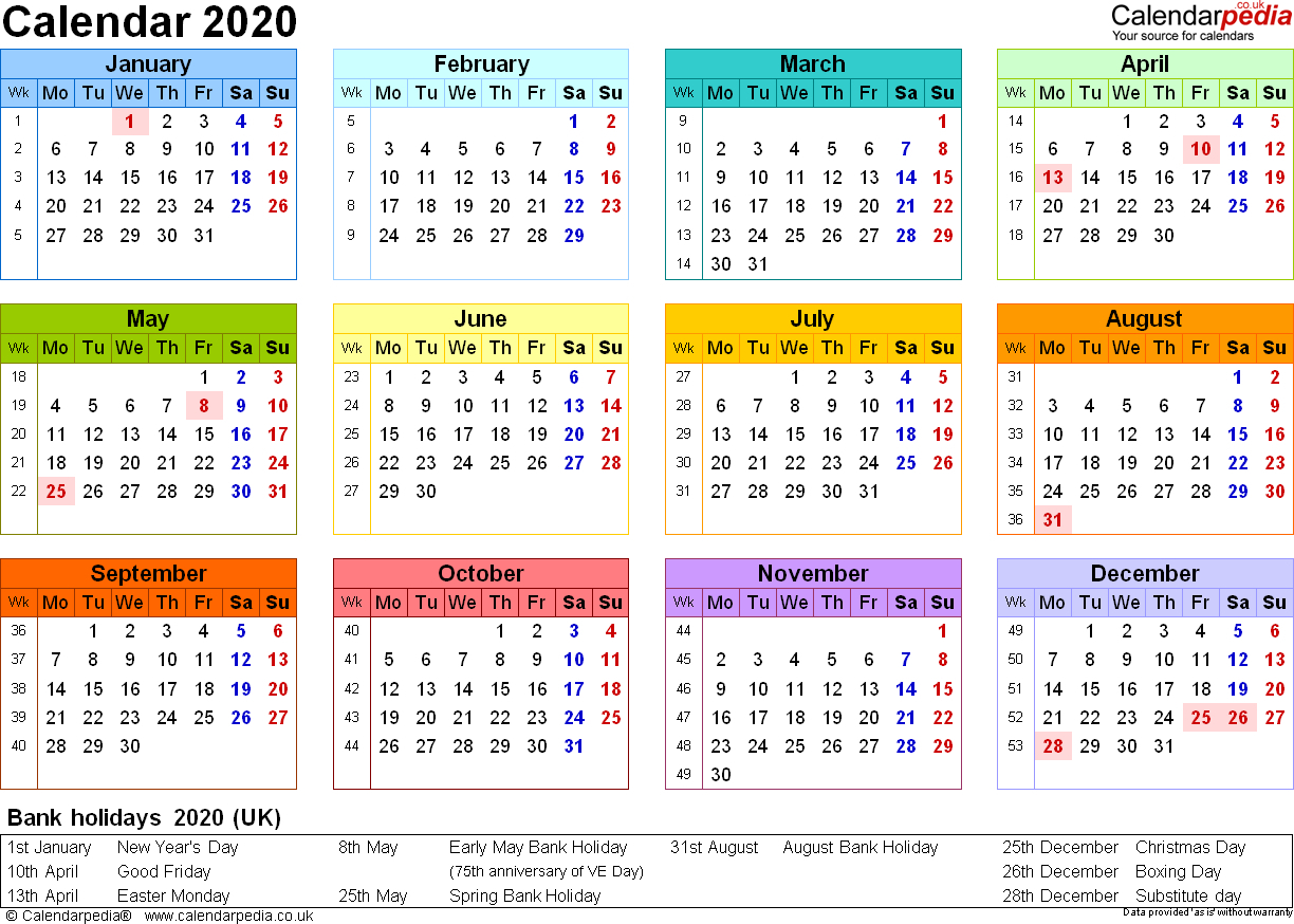 2020 Printable Calendar With Week Numbers Uk Example