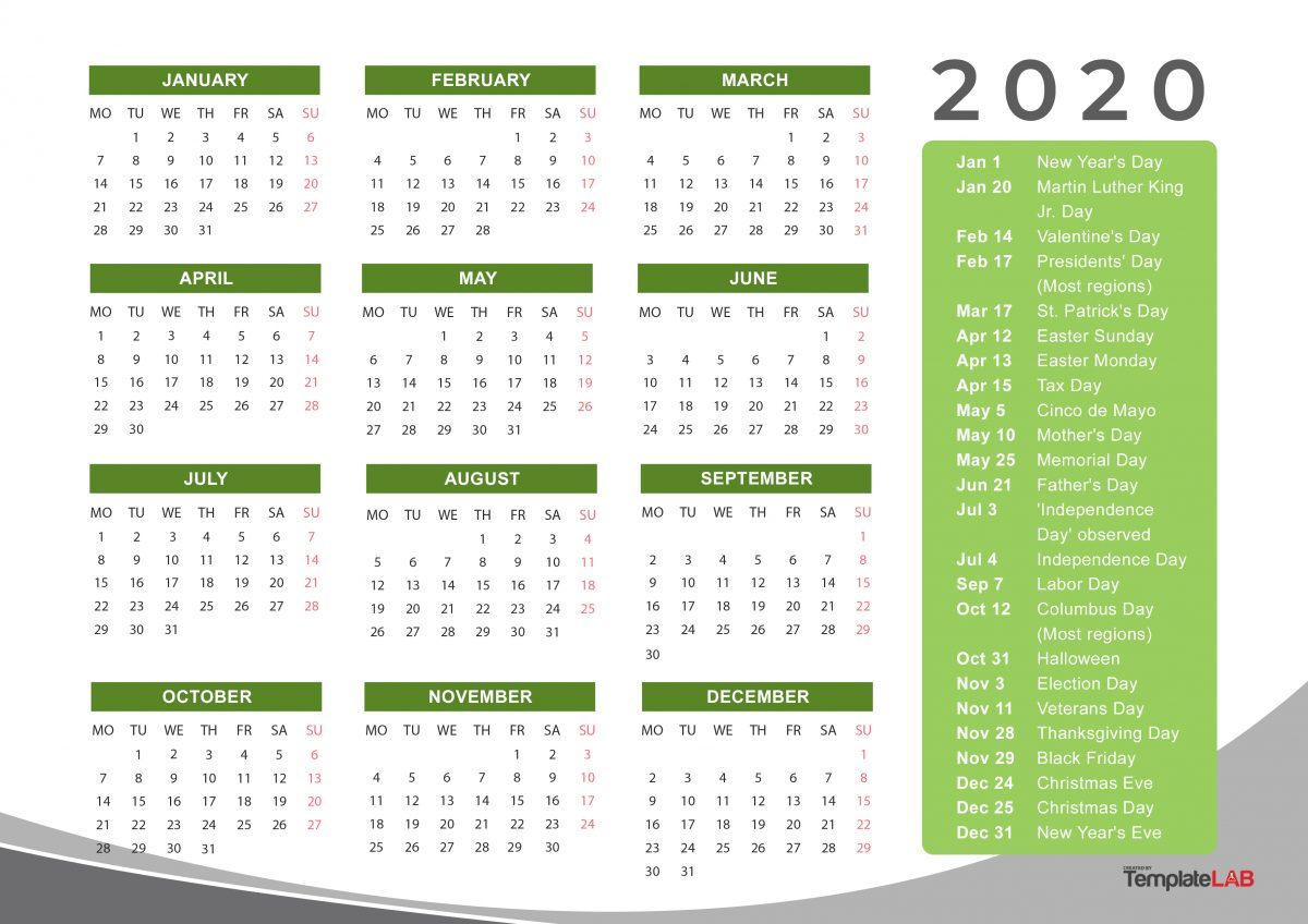 2020 Printable Calendars Monthly With Holidays Yearly