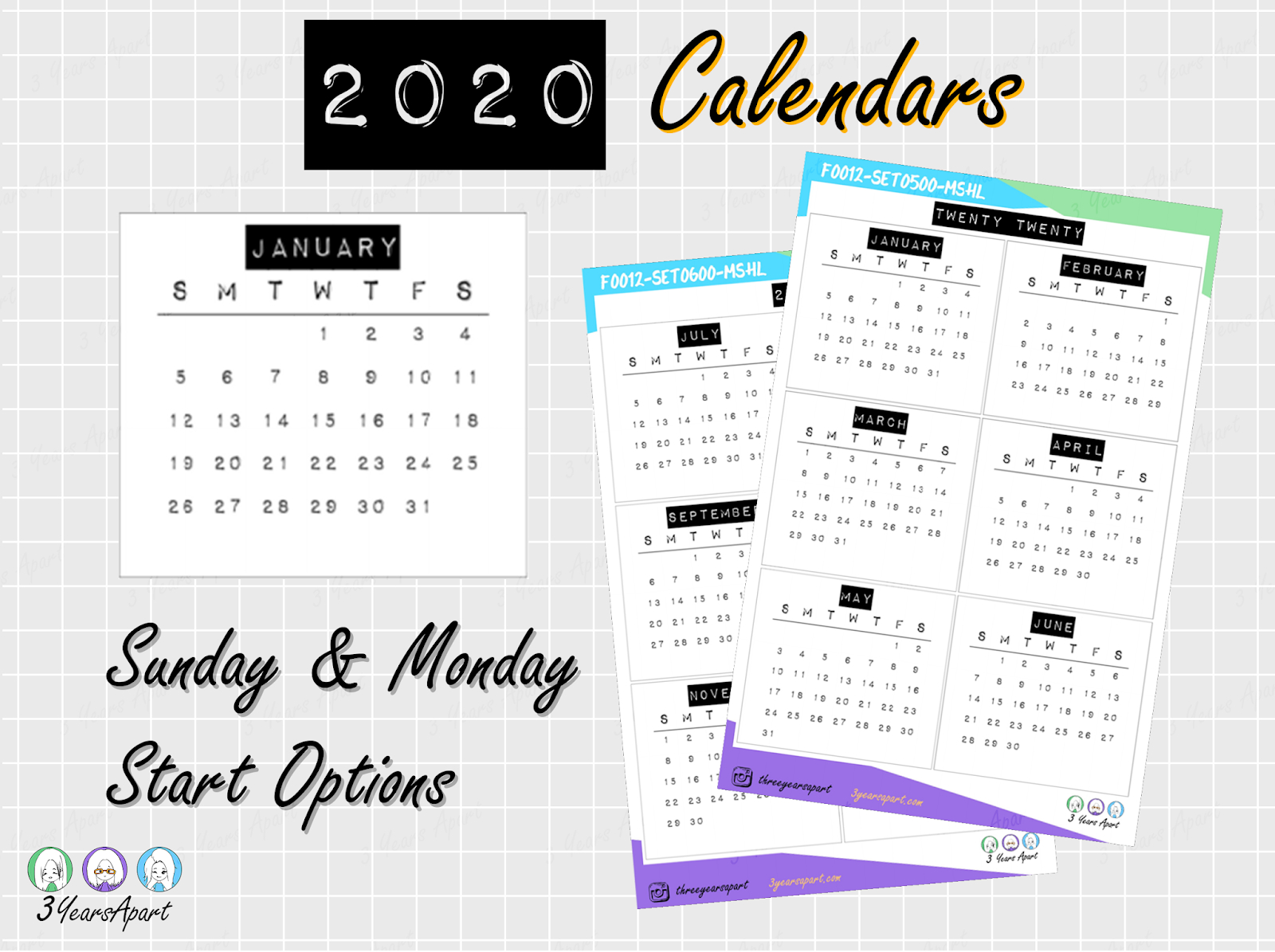 2020 Yearly Calendar Free Printable Bullet Journal And 1