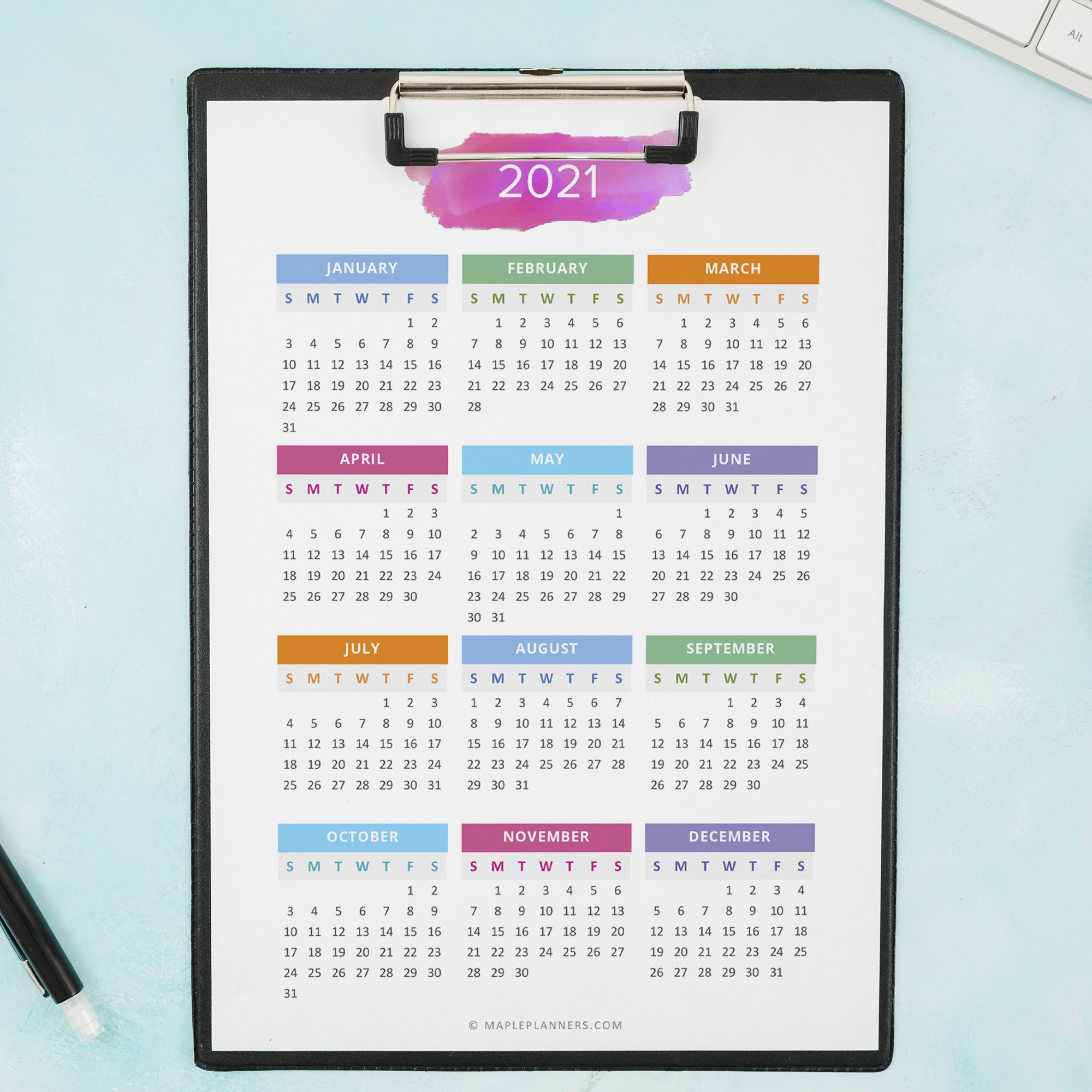 2021 2022 Year At A Glance In A5 Size Yearly Calendar