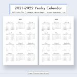 2021 2022 Yearly Calendar For Unlimited Instant Download