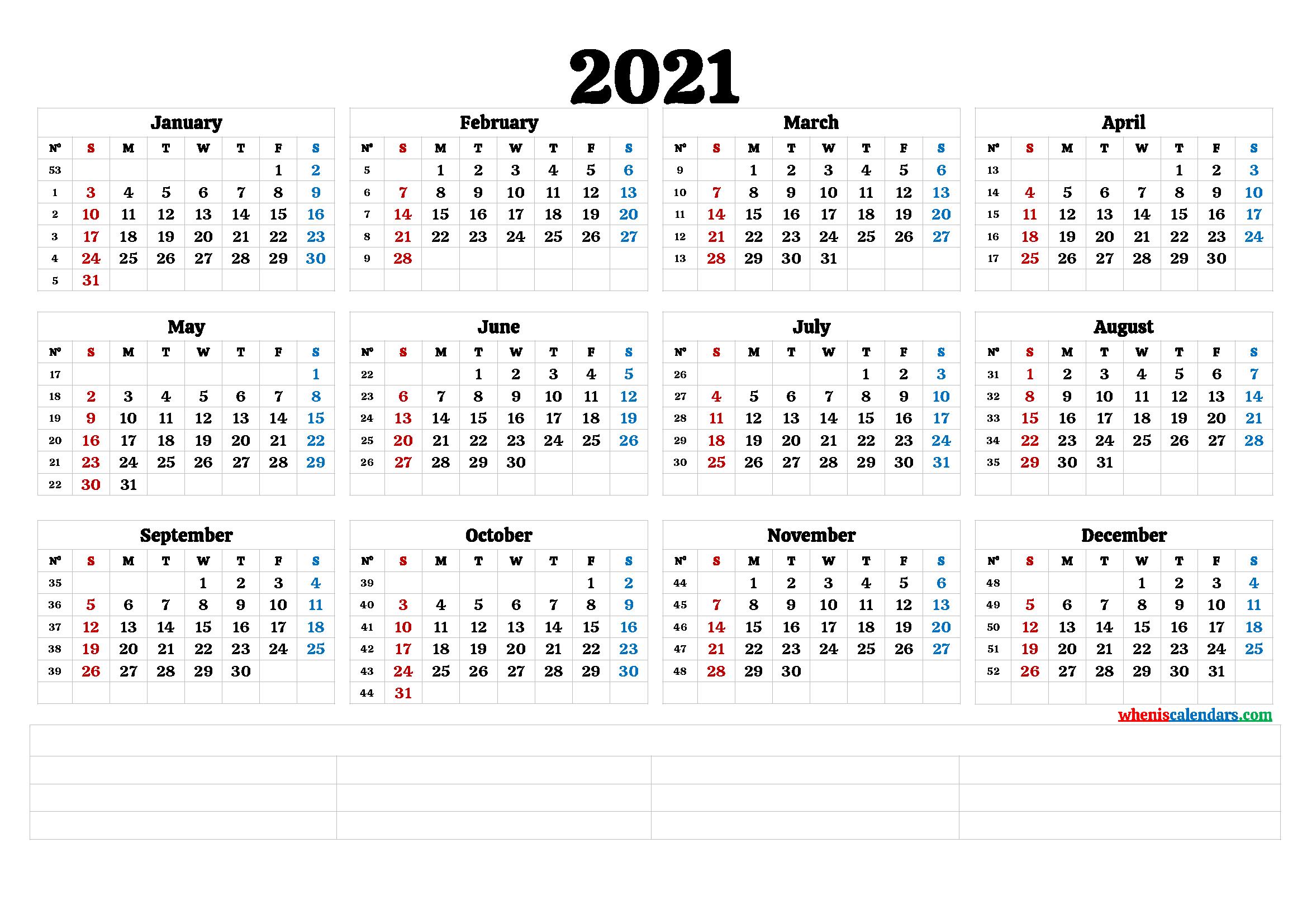 2021 Annual Calendar Printable 6 Templates Free 1
