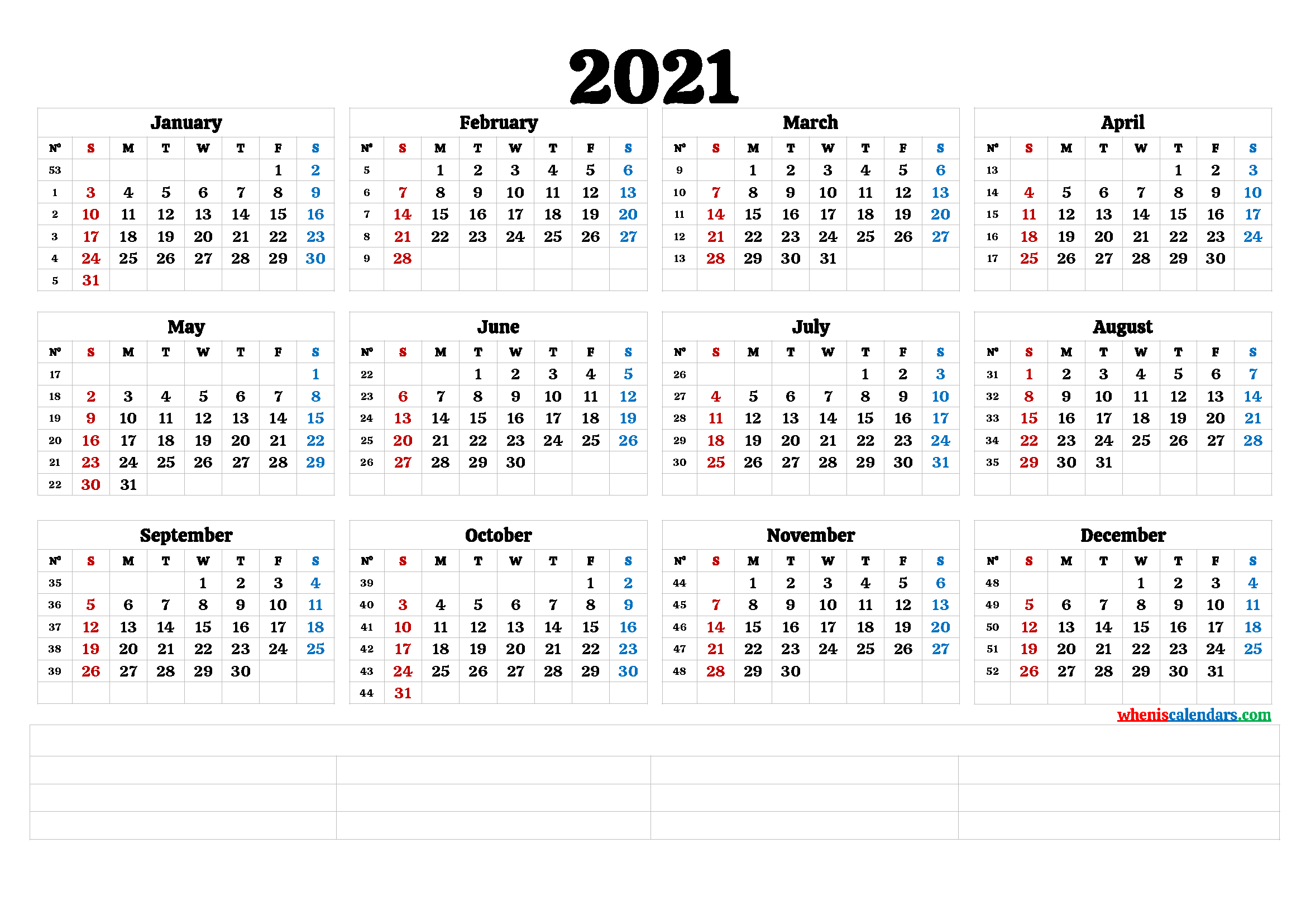 2021 Annual Calendar Printable 6 Templates Free