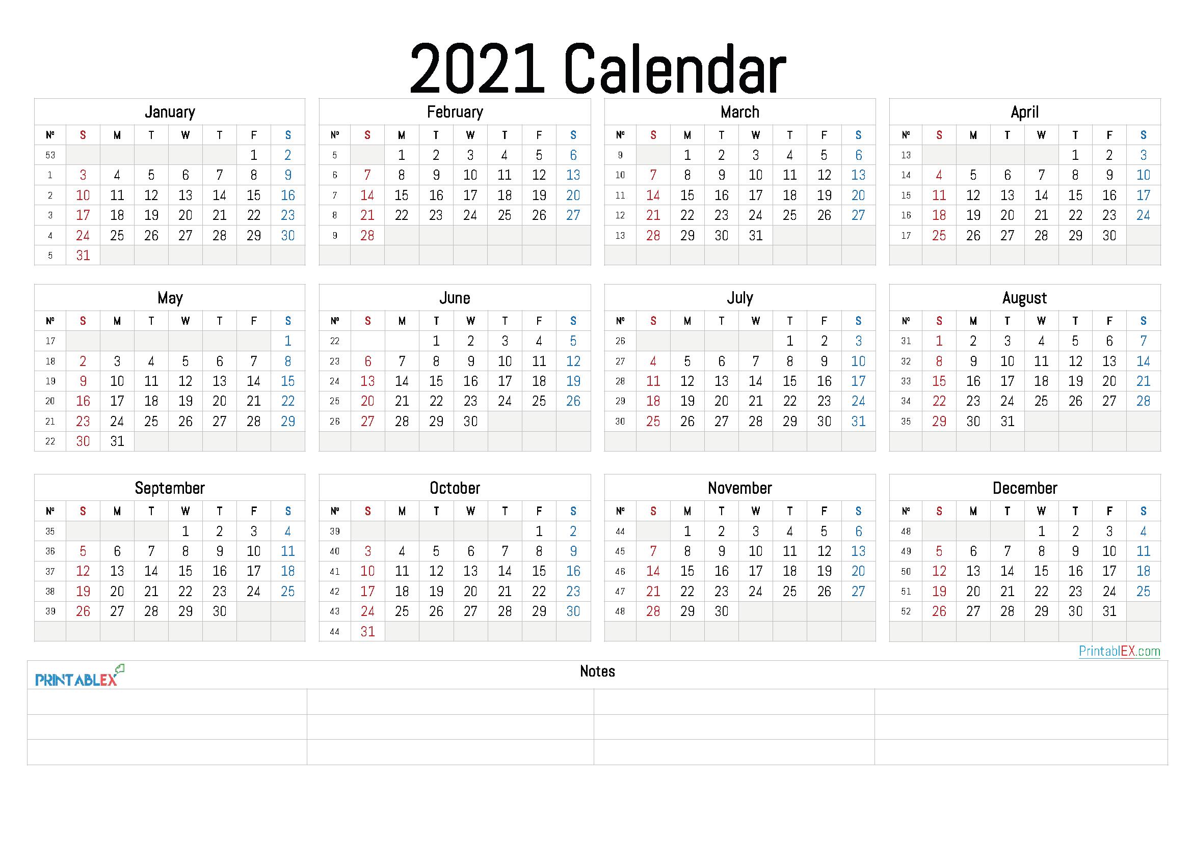 2021 Annual Calendar Printable Free Printable 2020