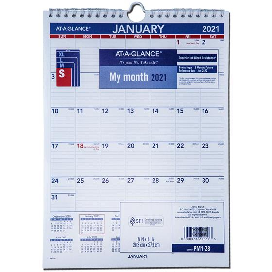 2021 At A Glance Pm1 28 Monthly Wall Calendar 8 X 11 1