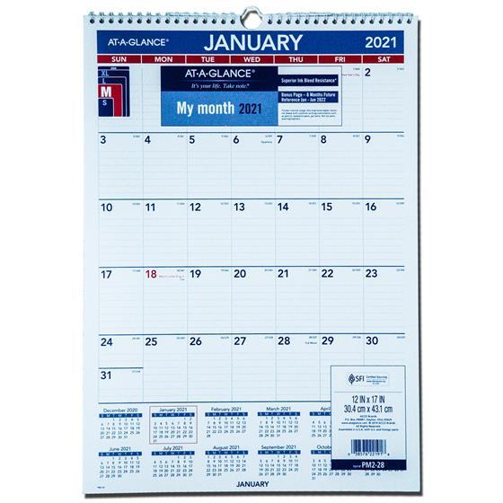 2021 At A Glance Pm2 28 Monthly Wall Calendar 12 X 17