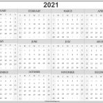 2021 Blank Yearly Calendar Full Page For Adult Free