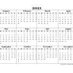 2021 Blank Yearly Word Calendar Template Free Printable