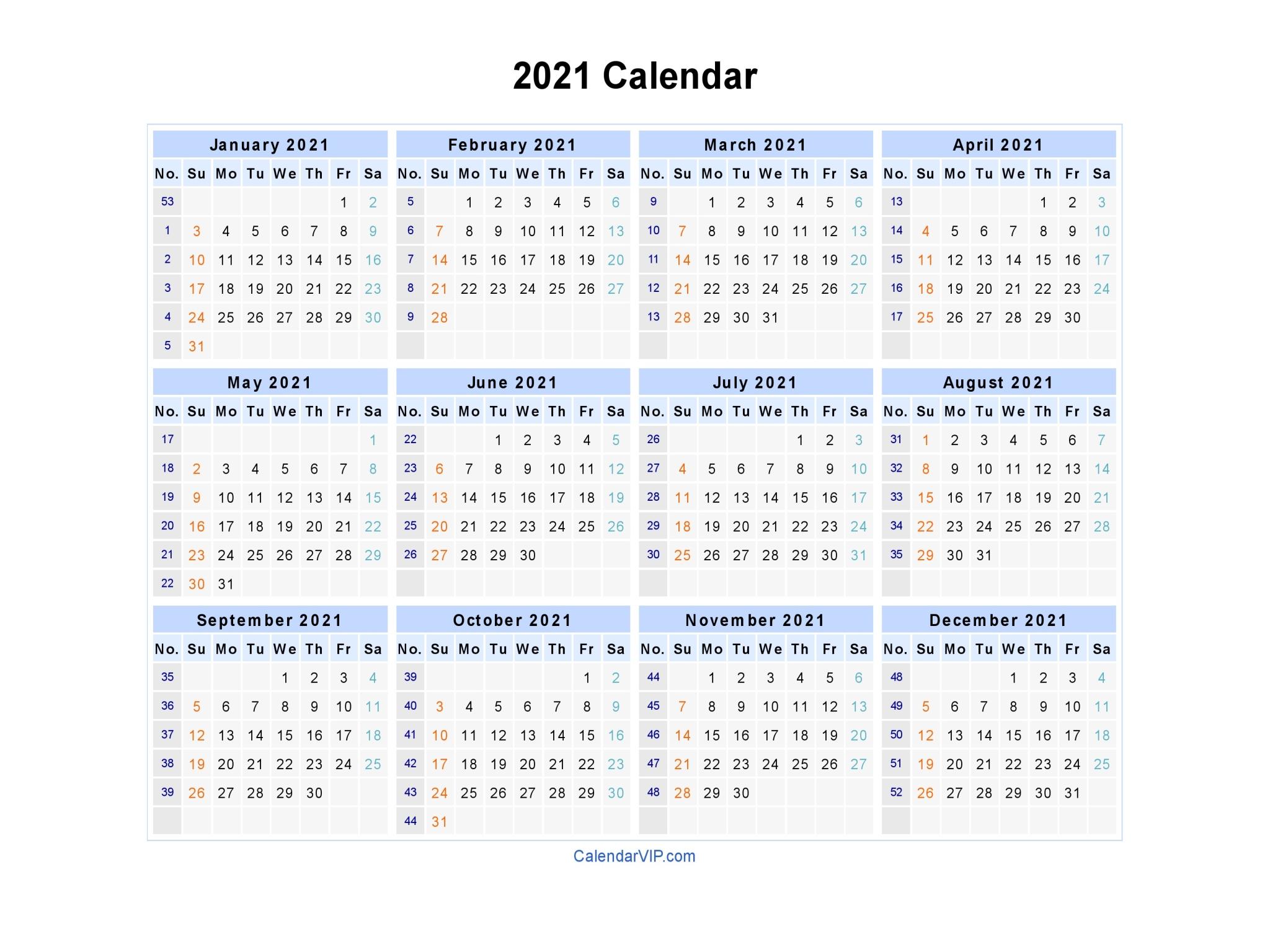 2021 Calendar Blank Printable Calendar Template In Pdf 1