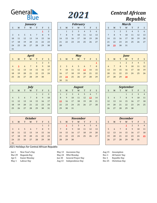 2021 Calendar Central African Republic With Holidays 1