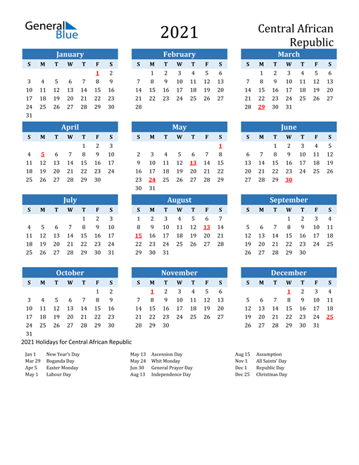 2021 Calendar Central African Republic With Holidays 2