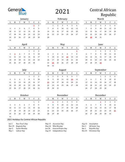 2021 Calendar Central African Republic With Holidays 3