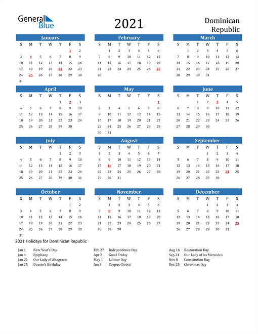 2021 Calendar Dominican Republic With Holidays 1