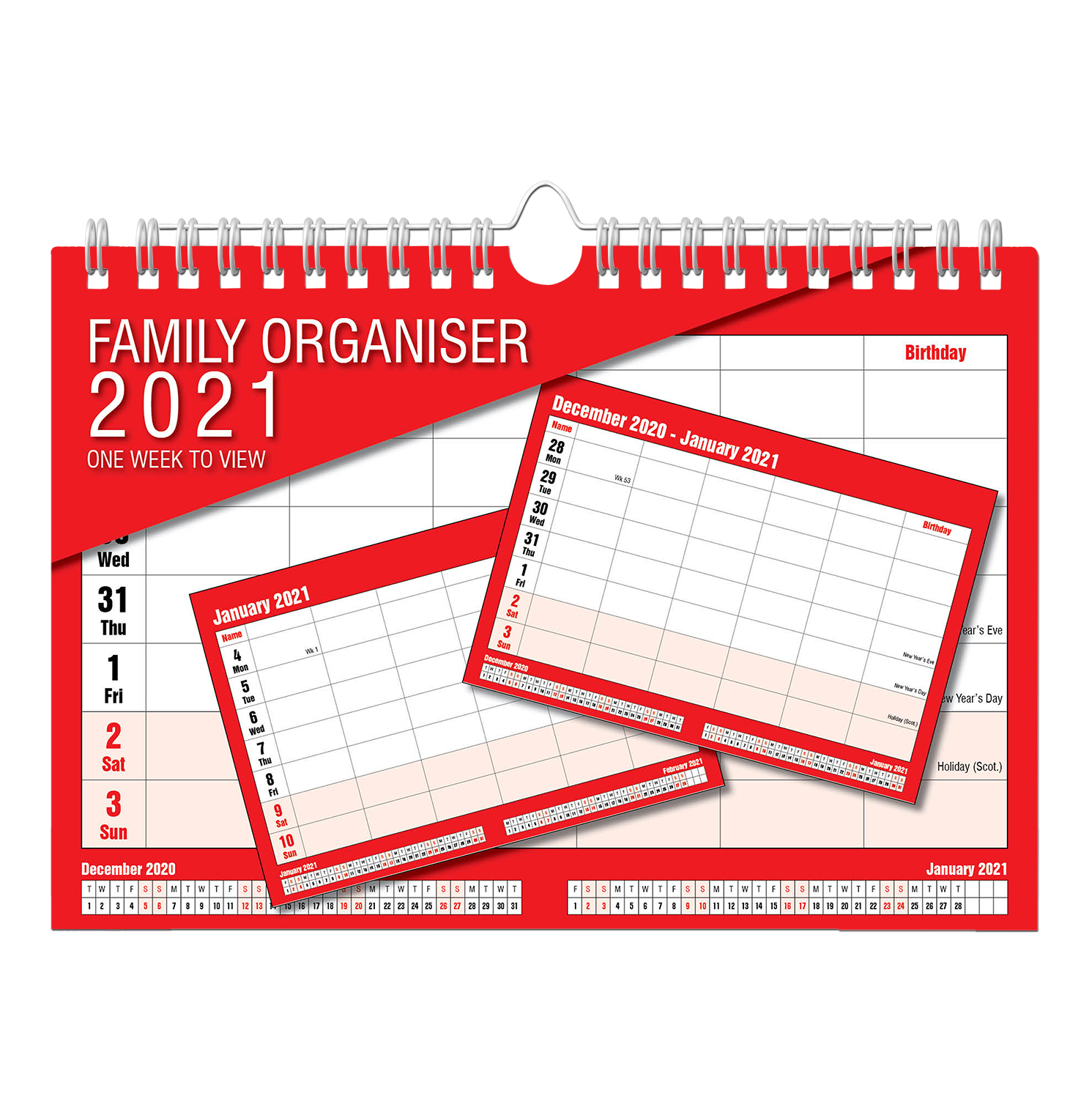 2021 Calendar Family Organiser One Week To View Clarisworld